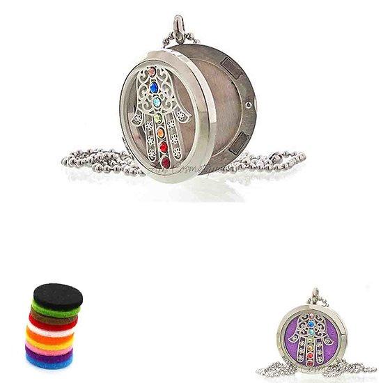 Collier Aromathérapie Hamsa Chakra médaillon bijoux de 30mm pour huile