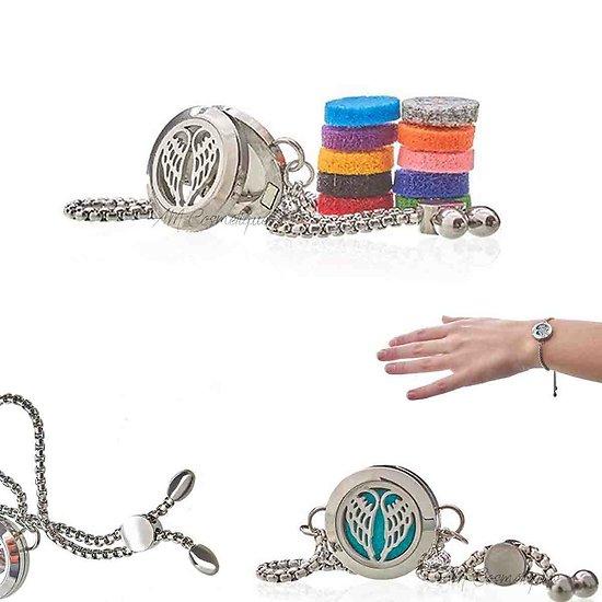Bracelet chaîne Ailes d'Anges bijoux aromathérapie en 20mm