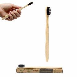 Brosse à dents en bambou poils Medium Soft au charbon végétal