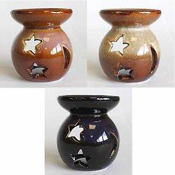 Brûleur à l'huile Yin-Yang céramique étoiles et lunes fondant cire