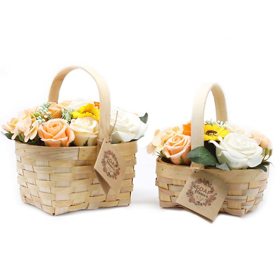 Bouquet fleurs en savon Orange tournesol, rose avec panier osier