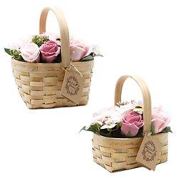 Bouquet fleurs savon Rose avec tournesol, roses dans panier osier