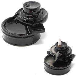 Fontaine à encens Flot Zen céramique en noir mat back flow