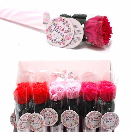 Fleur de savon petit Oeillet rouge, rose, fuchsia emballage unique