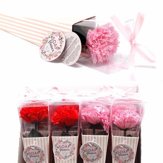 Fleur de savon Oeillet moyen en rouge ou rose emballage unique