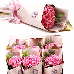 Fleur de savon Oeillet grand modèle en rose et emballage unique