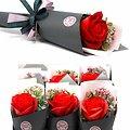 Fleur de savon Rose grand modèle en rouge et emballage unique
