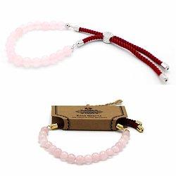 Bracelet pierres semi-précieuses Quartz Rose avec cordon