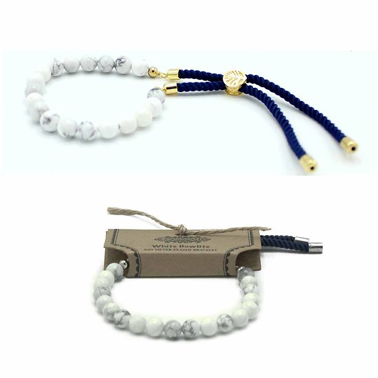 Bracelet pierres semi-précieuses Howlite Blanche avec cordon