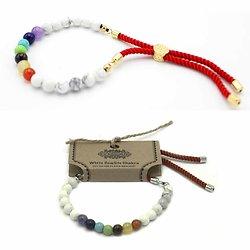 Bracelet pierres semi-précieuses Chakra Howlite Blanche cordon