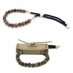 Bracelet pierres semi-précieuses Oeil de tigre avec cordon