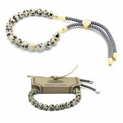 Bracelet pierres semi-précieuses Jaspe Dalmatien avec cordon