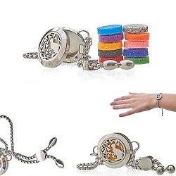 Bracelet diffuseur chaîne Chat et Fleurs bijoux aromathérapie 20mm