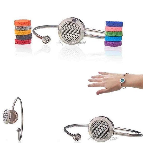 Bracelet strass Fleur de Vie bijoux diffuseur aromathérapie 20mm