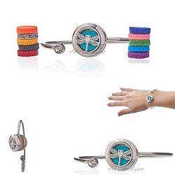 Bracelet strass Libellules bijoux diffuseur aromathérapie 20mm