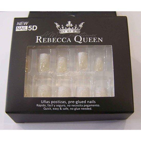 Faux ongles French pailletée beige autocollant Rebecca Queen
