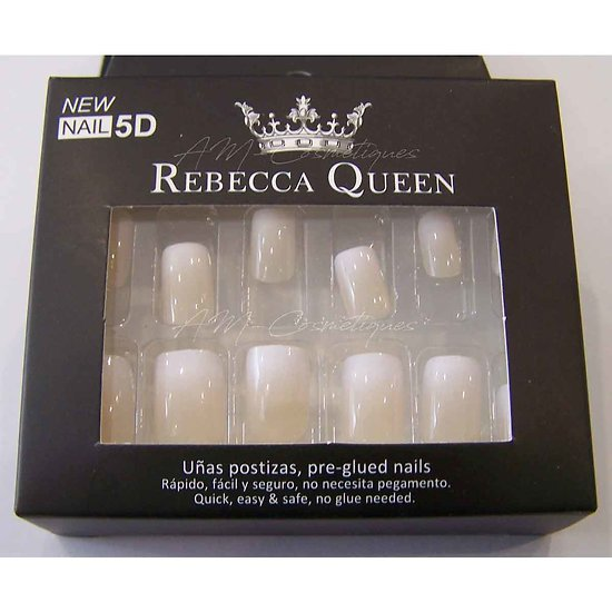 Faux ongles Baby Boomer nacré beige autocollant Rebecca Queen