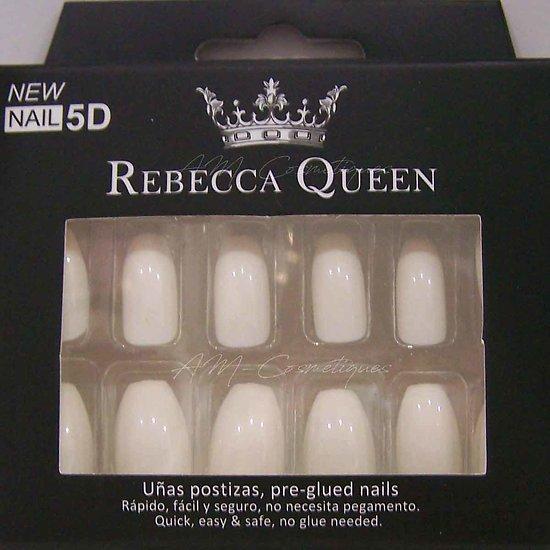 Faux ongles Blanc brillant autocollant 2en1 Rebecca Queen