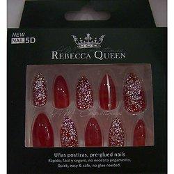 Faux ongles Rouge paillettes et strass autocollant Rebecca Queen