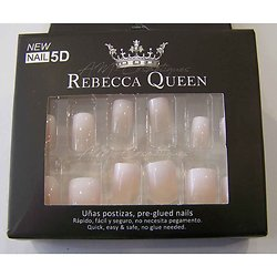 Faux ongles Baby Boomer nacré nude autocollant Rebecca Queen