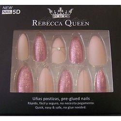 Faux ongles Rose mat et paillettes autocollant Rebecca Queen