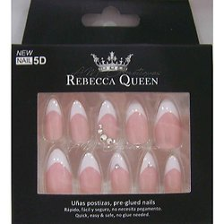 Faux ongles Rose French et strass autocollant Rebecca Queen