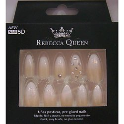 Faux ongles Baby Boomer Beige paillettes strass Rebecca Queen