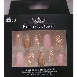 Faux ongles Rose et paillettes marron autocollant Rebecca Queen