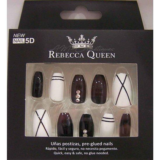 Faux ongles Noir et Blanc avec strass autocollant Rebecca Queen