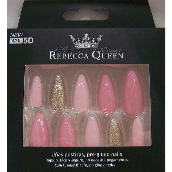 Faux ongles camaïeu Rose paillettes autocollant Rebecca Queen