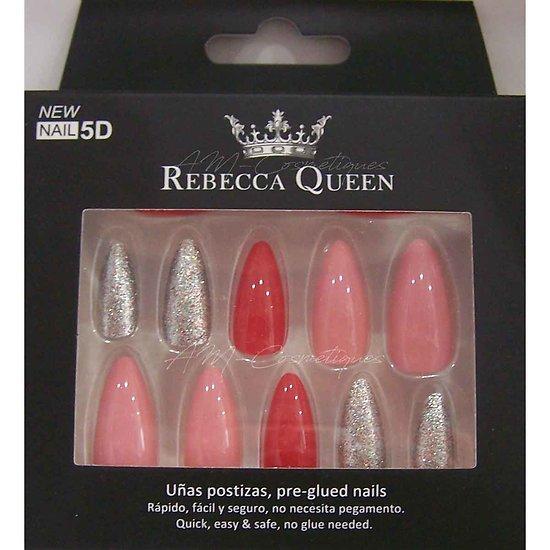 Faux ongles Rouge et Rose paillettes autocollant Rebecca Queen