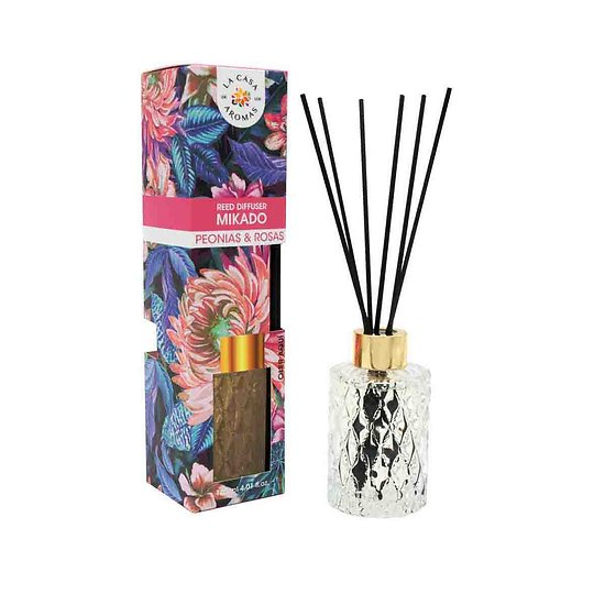 Mikado Pivoine et Rose en 120ml floral La Casa de los Aromas