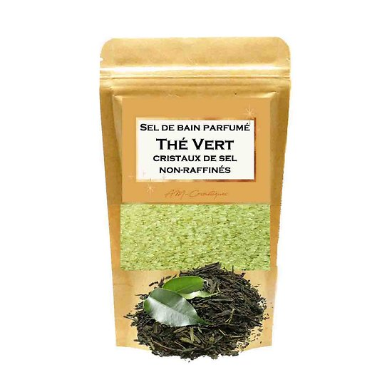 Sel de bain parfumé Thé Vert relaxant cristaux de sel non-raffinés
