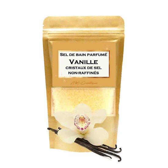 Sel de bain parfumé Vanille relaxant cristaux de sel non-raffinés