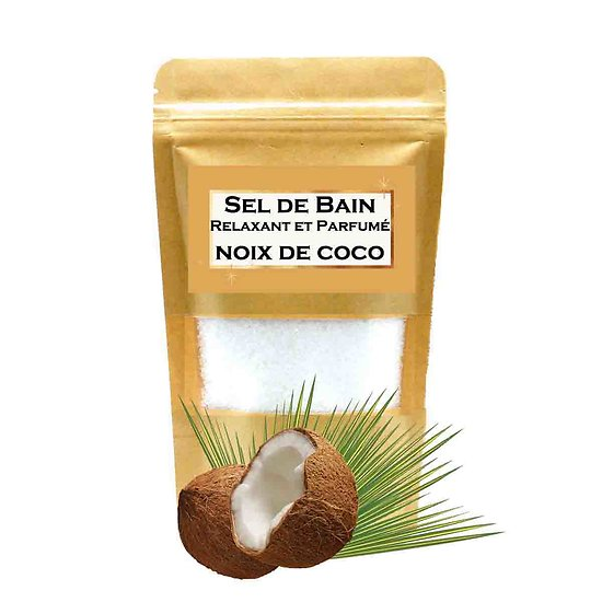 Sel de bain parfumé Noix de Coco aromathérapie, bain relaxant