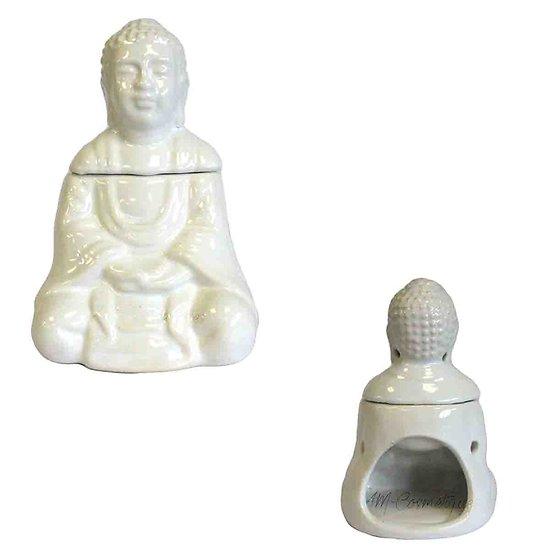 Brûleur à huile Bouddha assis blanc céramique idéal décoration