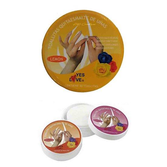Dissolvant lingettes Citron retirer votre vernis à ongles Yes Love