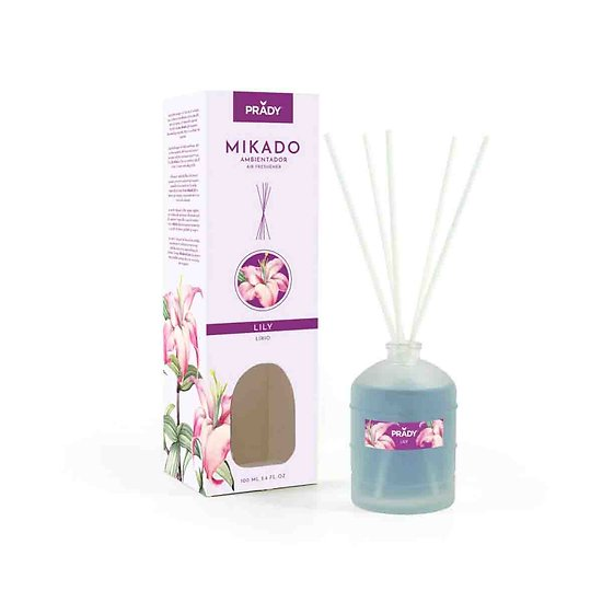 Mikado Lily diffuseur parfum d'ambiance désodorisant 100ml Prady