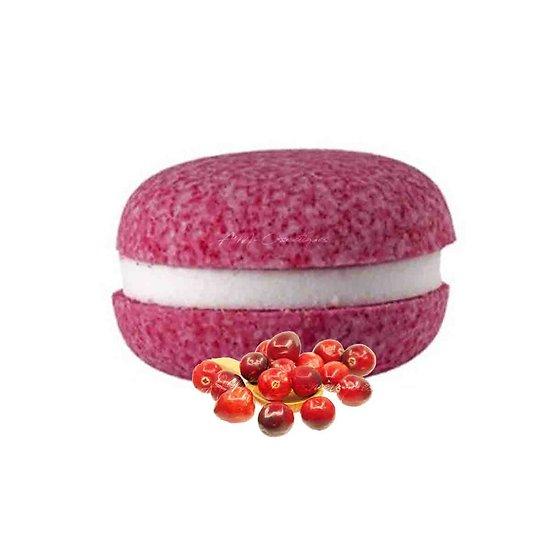 Macaron de bain Cranberry effervescent couleur et senteur fraîches