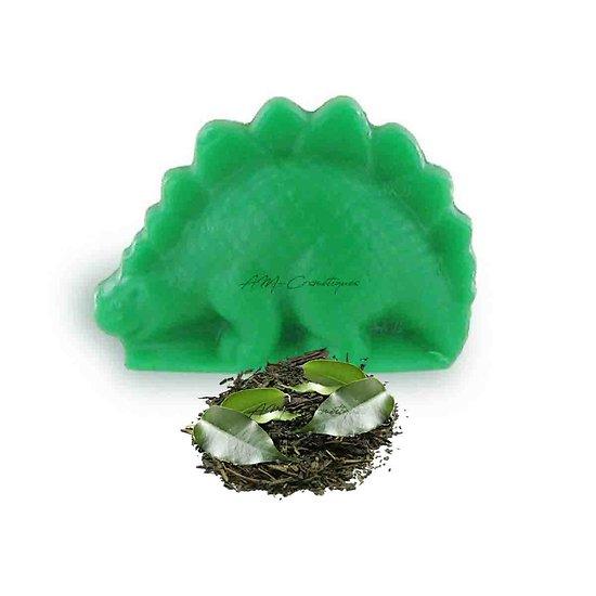 Savon fantaisie Dinosaure parfumé Thé Vert 25g coloris vert soap