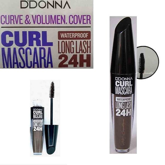 Mascara Marron Curl waterproof, volume et courbe D'donna