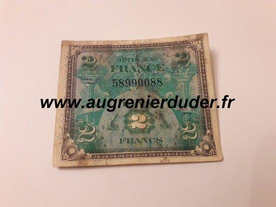 Billet invasion 2 Francs 1944 US wwII