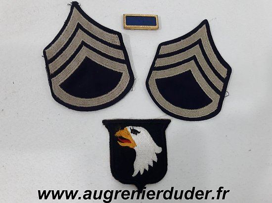 Ensemble patch et grades 101 ème Airborne US wwII
