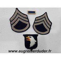 Ensemble patch et grades 101 ème Airborne US wwII