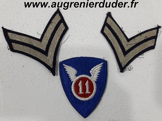 Ensemble patch et grades 11 ème Airborne US wwII