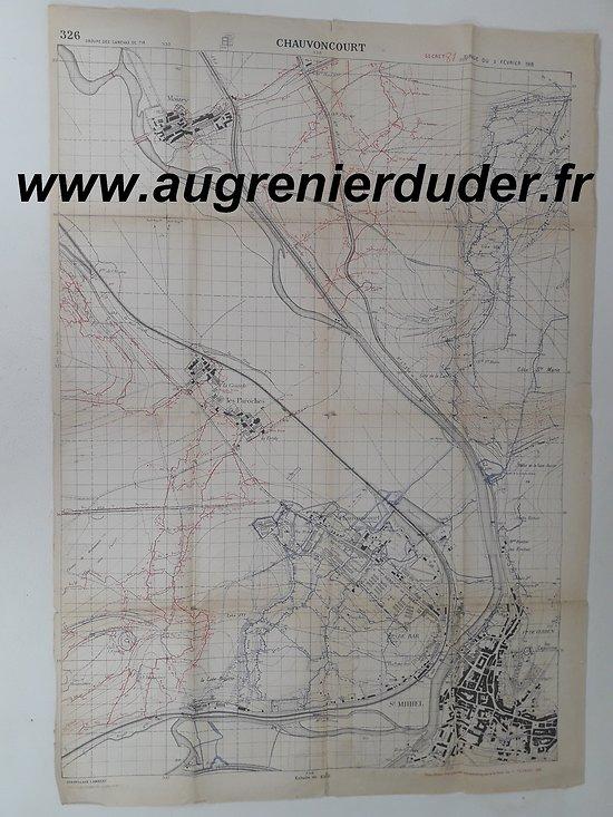 Carte canevas de tir Saint-Mihiel / Chauvoncourt France 1918