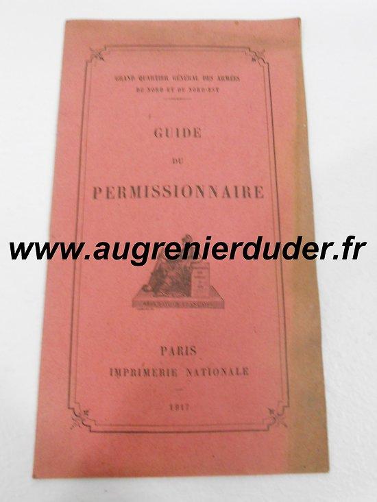 Livret guide du permissionnaire 1917 France