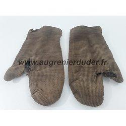 Paire de gants ersatz / velours France wwI