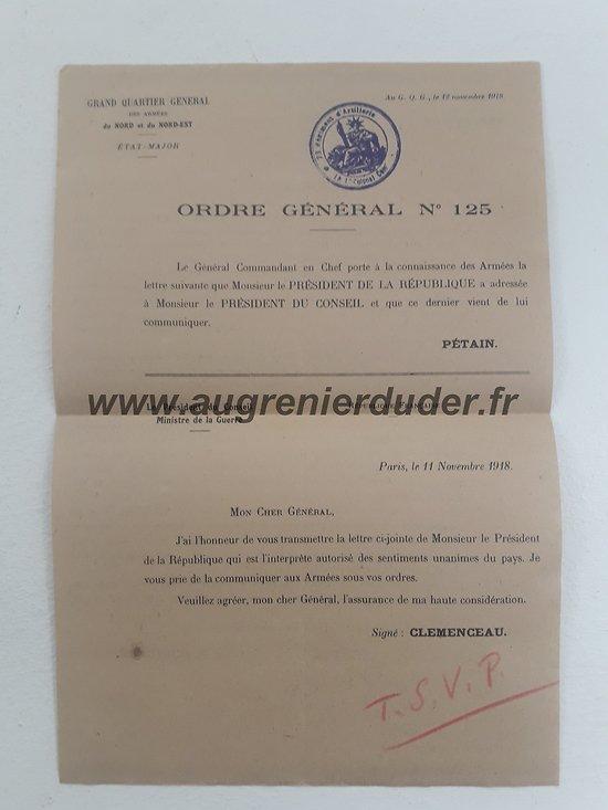 Ordre général n°125 Novembre 1918