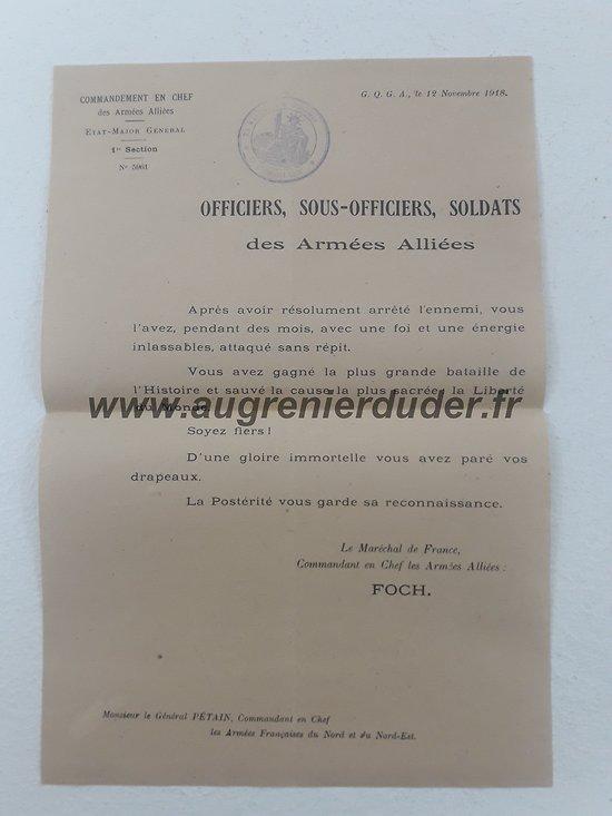 ordre du commandant en chef des armees 1918 France